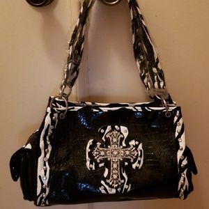 NEW Zebra, rhinestones & cross handbag 💖